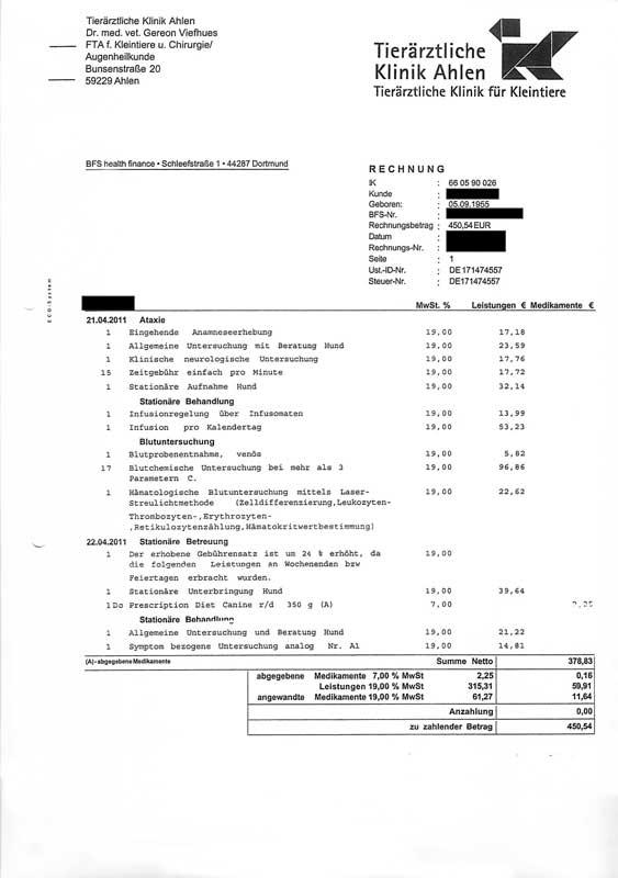Rechnung Klinik Don