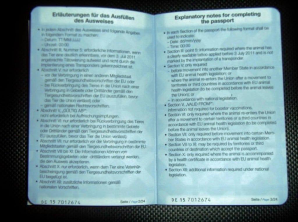 Seite 2 und 3 Heimtierausweis